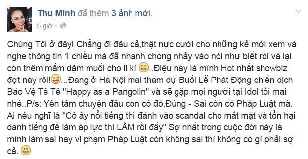Status đáp trả trước những lời tố cáo mình của nữ ca sĩ Thu Minh