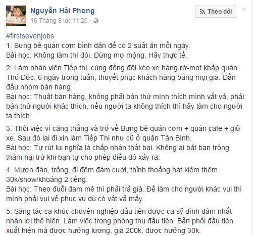"""Là người có thâm niên làm nghề nên câu chuyện #firstsevenjobs của nhạc sĩ Nguyễn Hải Phong có phần gian nan và sâu sắc hơn hẳn khi sau mỗi công việc, anh đều rút ra bài học cũng như những quy luật rất """"đời""""."""