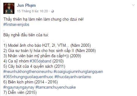 """Chia sẻ ở fanpage Jun Phạm về những nghề """"sau khi biết thế nào là tiền bạc"""" như anh nói…"""