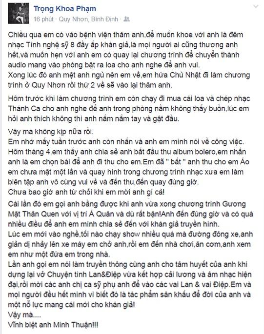 Ngập tràn dòng facebook nghệ sĩ Việt thương tiếc ca sĩ Minh Thuận - 7