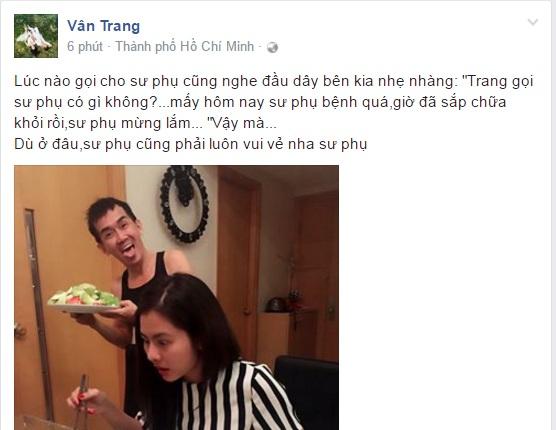 Chia sẻ tình cảm và hình ảnh hài hước của Vân Trang bên Minh Thuận