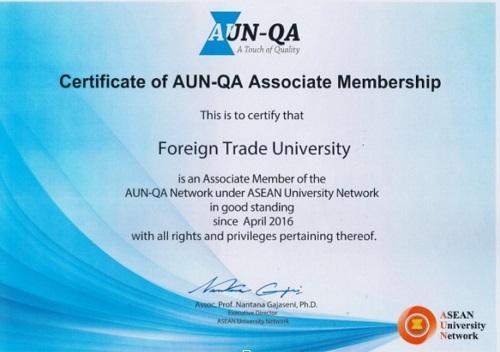Chứng chỉ Associate Member của AUN-QA