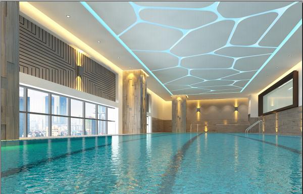 Khách hàng có thể nhìn thấy thành phố từ trên cao tại bể bơi bốn mùa rộng 300m2 ở Elite Fitness Vincom Center Nguyễn Chí Thanh