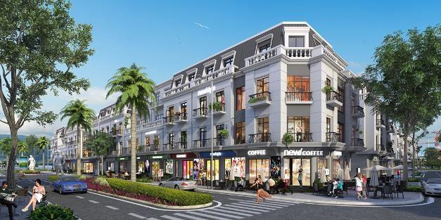 Phối cảnh minh họa dãy shophouse tai khu đô thị biển Vinhomes Dragon Bay