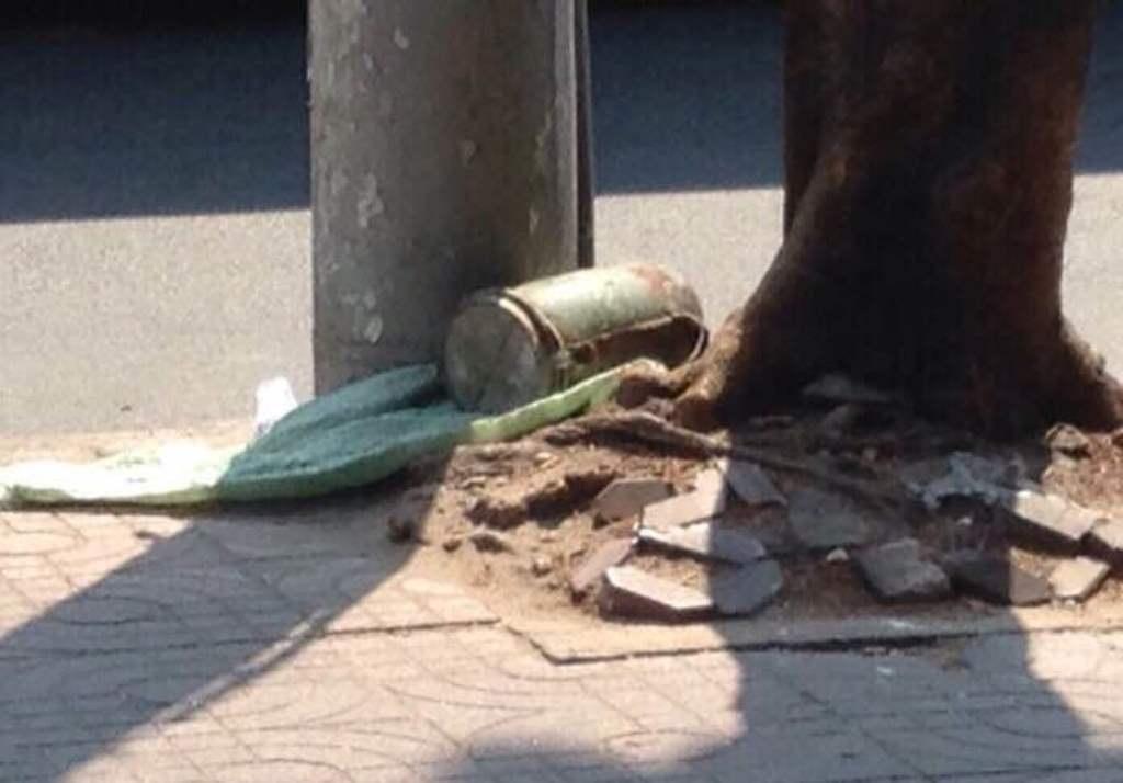 Vật lạ đặt tại gốc cây phía trước gara ô tô trên đường Lý Thường Kiệt