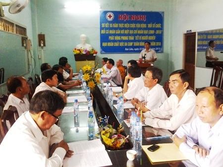 Hội nghị sơ kết công tác nhân đạo của Hội Chữ Thập đỏ tỉnh Bạc Liêu.