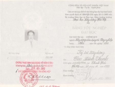 Bằng tốt nghiệp đại học bị nghi là giả của ông Cao Đình Thanh.