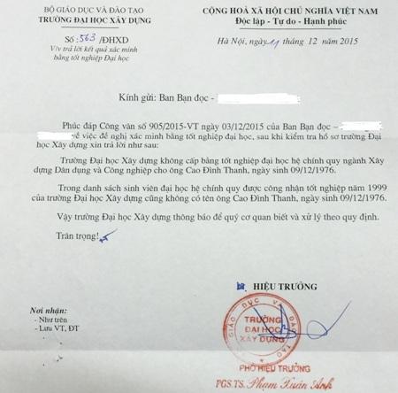 Công văn của Trường ĐH Xây dựng Hà Nội khẳng định không có sinh viên nào cũng như không cấp bằng tốt nghiệp đại học chính quy ngành Xây dựng dân dụng và công nghiệp cho người tên Cao Đình Thanh vào năm 1999.