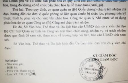 Văn bản của Sở VH-TT&DL tỉnh Cà Mau báo cáo UBND tỉnh về việc bắn pháo hoa tại đám cưới con đại gia Nguyễn Việt Cường.