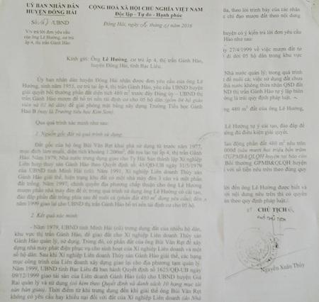 Văn bản trả lời của UBND huyện Đông Hải bác đơn yêu cầu của ông Lê Hưởng được cho là chưa thỏa đáng.