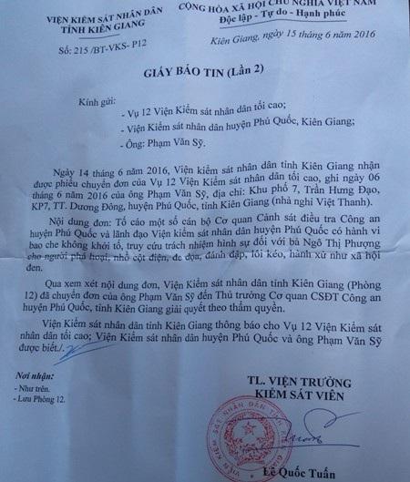 Văn bản Viện KSND tỉnh Kiên Giang chuyển phản ánh của người dân đến Thủ trưởng cơ quan CSĐT Công an huyện Phú Quốc giải quyết theo quy định.