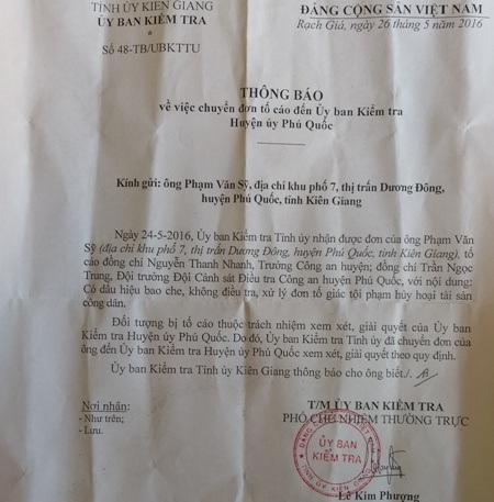 Ủy ban Kiểm tra Tỉnh ủy Kiên Giang chuyển phản ánh của người dân đến Ủy ban Kiểm tra Huyện ủy Phú Quốc xem xét, giải quyết theo quy định.