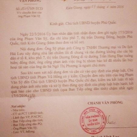 Văn bản chỉ đạo của UBND tỉnh Kiên Giang yêu cầu Chủ tịch huyện Phú Quốc xem xét xử lý vụ lấn chiếm đường công cộng và hủy hoại tài sản liên quan đến Công ty Hải Lưu. Tuy nhiên, dù thời hạn báo cáo xử lý là ngày 17/5/2016, nhưng cho đến nay vụ việc vẫn rơi vào im lặng một cách khó hiểu khiến người dân rất bức xúc.