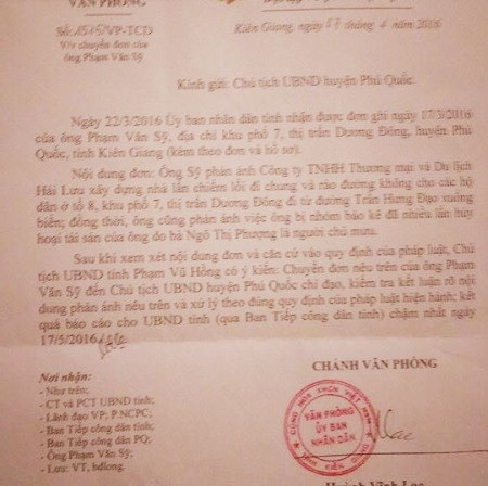 Văn bản chỉ đạo của UBND tỉnh Kiên Giang yêu cầu Chủ tịch huyện Phú Quốc xem xét xử lý vụ lấn chiếm đường công cộng và hủy hoại tài sản liên quan đến Công ty Hải Lưu. Tuy nhiên, dù thời hạn báo cáo xử lý là ngày 17/5/2016, nhưng cho đến nay vụ việc vẫn rơi vào im lặng một cách khó hiểu.