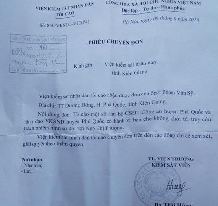 Văn bản Viện KSNDTC chuyển phản ánh của người dân đến Viện KSND tỉnh Kiên Giang xem xét, giải quyết.
