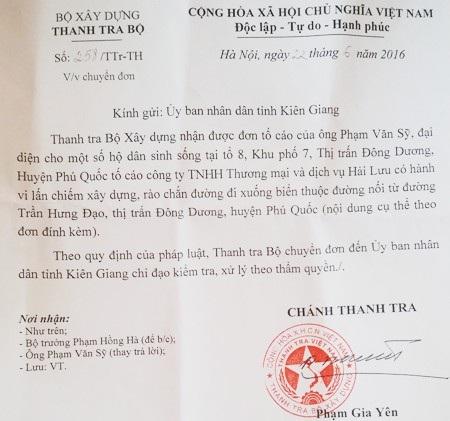 Văn bản của Thanh tra Bộ Xây dựng chuyển UBND tỉnh Kiên Giang chỉ đạo kiểm tra, xử lý vụ Công ty Hải Lưu bị tố xây dựng lấn chiếm đường công cộng.