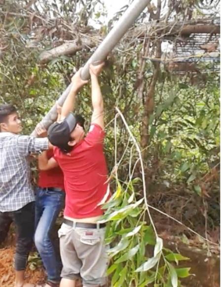 Phía Công ty Hải Lưu bị tố phá hoại cột điện của ông Sỹ chôn ngày 4/10/2015.