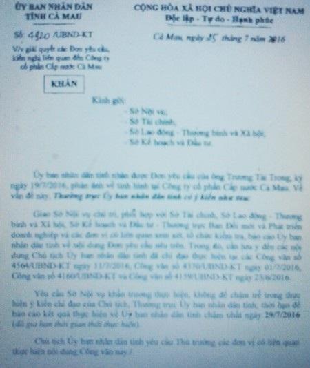 Thường trực UBND tỉnh Cà Mau yêu cầu các Sở, Ban ngành xem xét, làm rõ những thông tin người lao động phản ánh về Công ty Cấp nước Cà Mau.