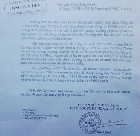 Công văn đề nghị Công ty Cấp nước Cà Mau phải trả nợ cho người lao động của Thường trực Ban Đổi mới và Phát triển doanh nghiệp Cà Mau.