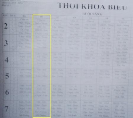 ... nhưng thời khóa biểu ở lớp 6B (cột màu vàng) lại không có một tiết dạy nào của ông Tài.