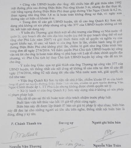 Biên bản làm việc giữa Thanh tra Nhà nước huyện Thạnh Trị và người tố cáo. Trong đó có ý kiến của lãnh đạo Thanh tra xác định, hành vi của ông Sơn là lấn, chiếm hành lang lộ giới.