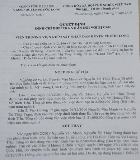 Quyết định đình chỉ điều tra vụ án đối với chị Nguyễn Thị Thùy Trang.