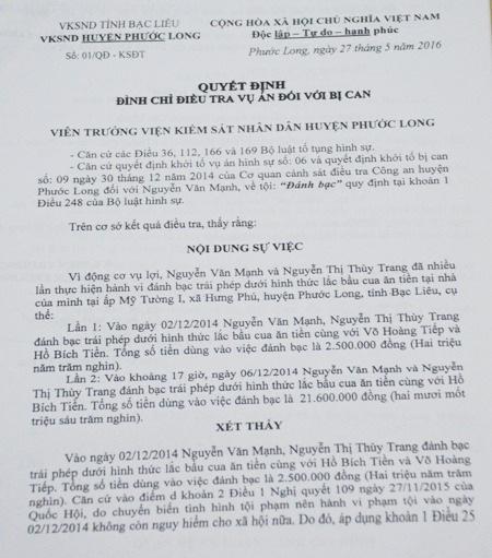 Quyết định đình chỉ điều tra vụ án đối với anh Nguyễn Văn Mạnh.
