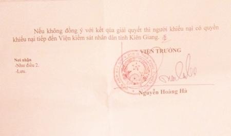Viện KSND huyện Phú Quốc bác đơn khiếu nại của ông Sỹ về việc yêu cầu xem xét không khởi tố vụ án của Công an huyện Phú Quốc.