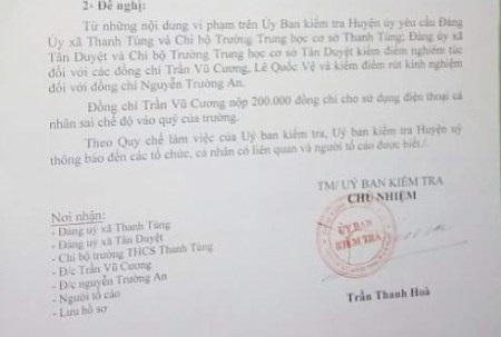 Ông hiệu trưởng Trường THCS Thanh Tùng còn được xác định có nhiều sai phạm tài chính như lấy tiền công để đóng tiền điện thoại cá nhân…