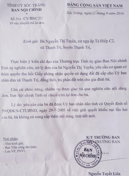 Ban Nội chính Tỉnh ủy Sóc Trăng trả lại đơn cho bà Tuyến.