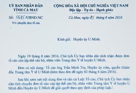 Công văn của UBND tỉnh Cà Mau chuyển phản ánh đến Huyện ủy U Minh để chỉ đạo xử lý theo quy định.