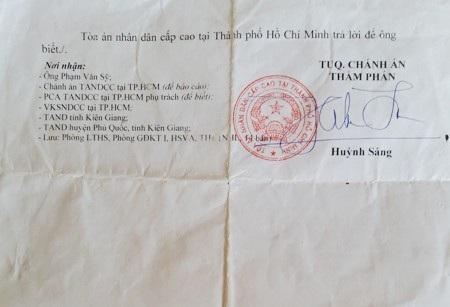 Thông báo của TAND Cấp cao tại TPHCM khẳng định, các bản án đúng pháp luật và không có căn cứ để kháng nghị theo thủ tục giám đốc thẩm.