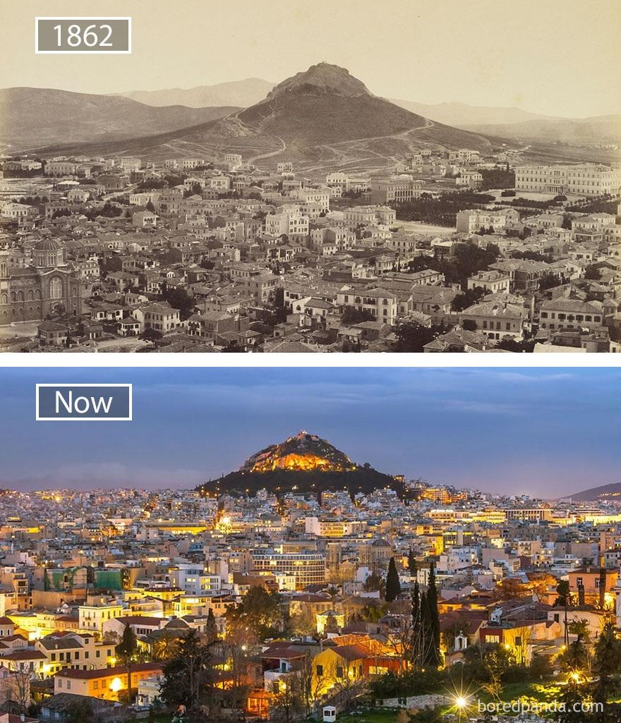 Thành phố Athens, Hi Lạp năm 1892 và hiện tại.