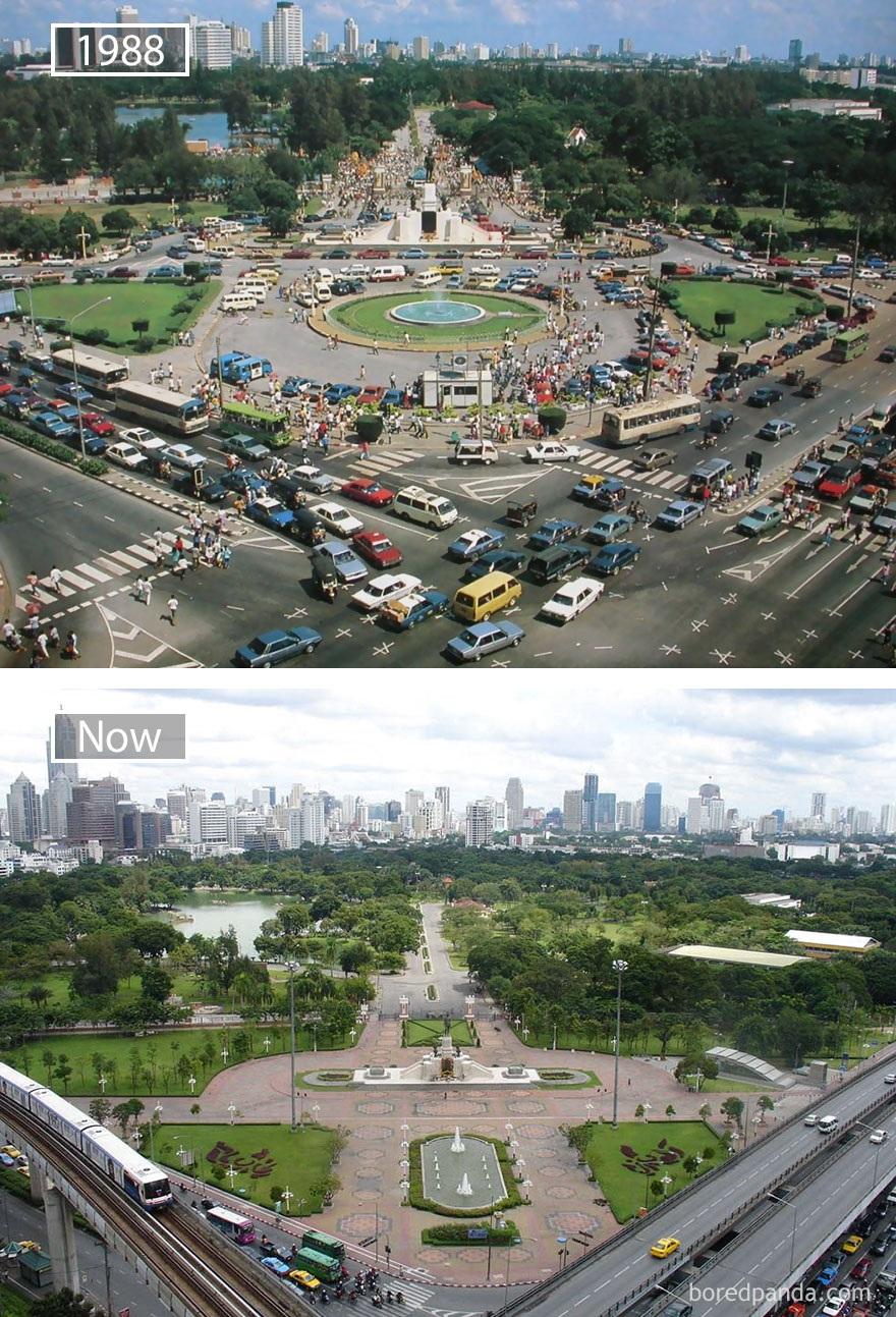 Thủ đô Bangkok, Thái Lan năm 1988 và hiện tại. Thủ đô Bangkok, Thái Lan năm 1988 và hiện tại.