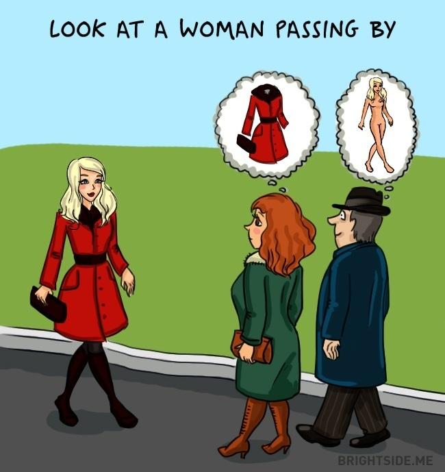 Cách người đàn ông và phụ nữ nhìn một cô gái xinh đẹp đi ngang qua.