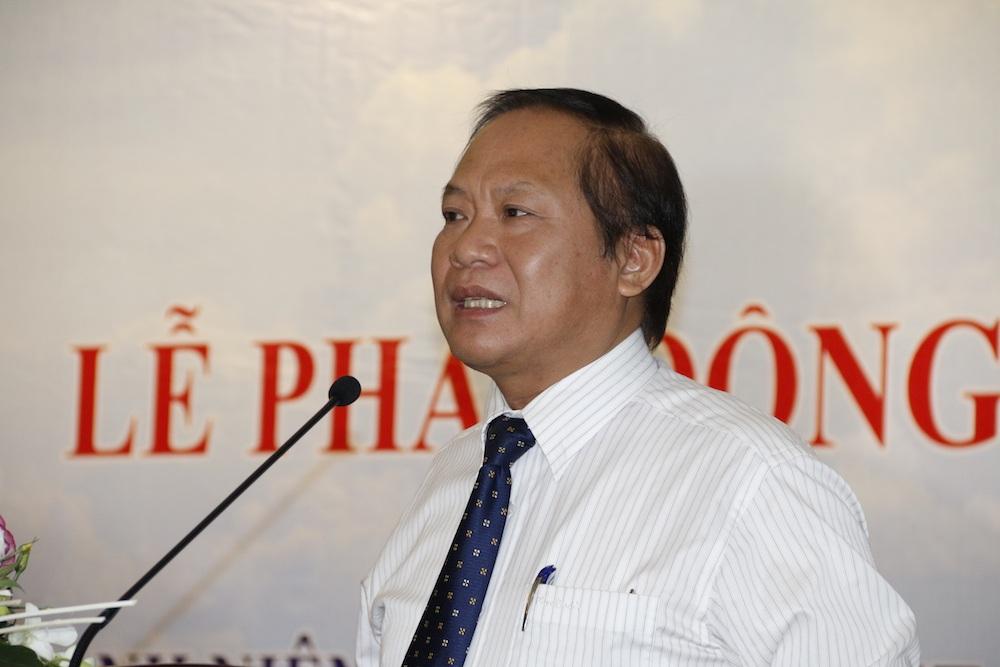 Ông Trương Minh Tuấn, Bộ trưởng Bộ Thông tin Truyền thông phát biểu trong buổi lễ phát động cuộc thi viết Thanh niên, sinh viên Việt Nam ở nước ngoài với nhiệm vụ bảo vệ chủ quyền biển, đảo Việt Nam.
