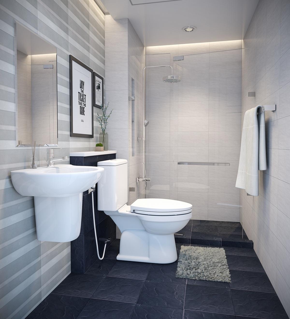 Mẫu phòng tắm tối giản mà vẫn thoải mái, tiện nghi hẳn sẽ làm hài lòng những bạn trẻ độc thân.
