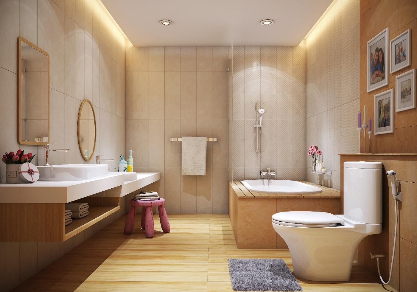 Còn các kích cỡ khác nhau ở những mẫu thiết bị phòng tắm sẽ đáp ứng tiêu chí hòa hợp trong thiết kế phòng tắm dành cho gia đình đông người.