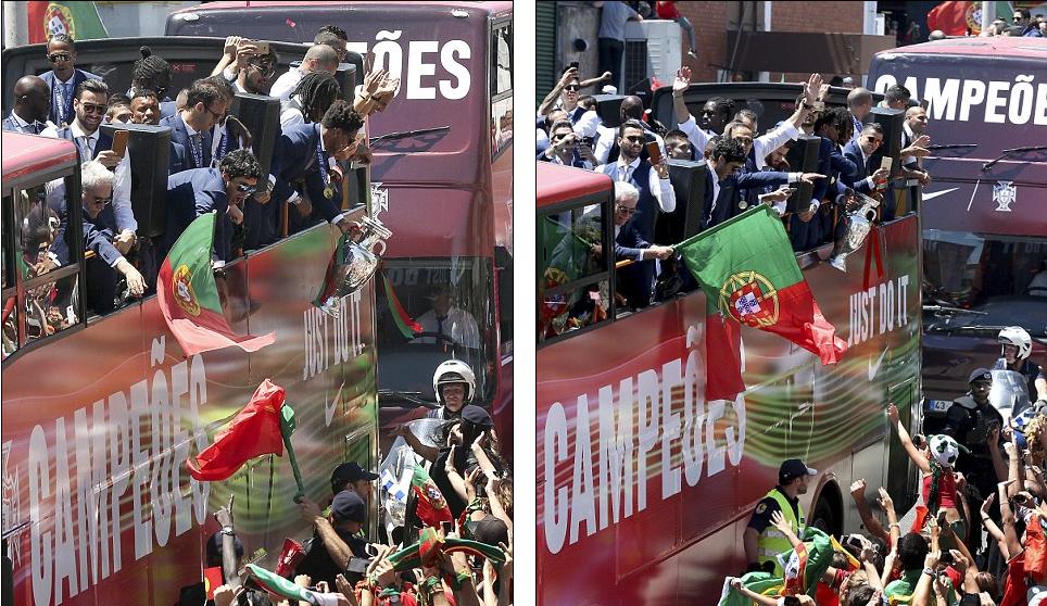 2 chiếc xe buýt mui trần được bố trí để đưa các thành viên đội tuyển dạo quanh thành phố