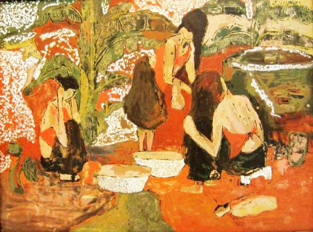 Tắm - Tranh sơn mài của Hải Giang.