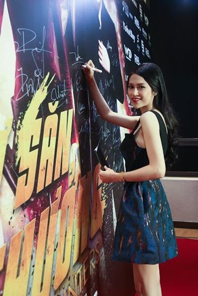 Tối 29/6, Thu Vũ đi xem phim mới của Lee Min Ho. Đây là lần đầu tiên cô tham dự sự kiện say scandal nói tiếng Anh dở gây bão trên mạng.