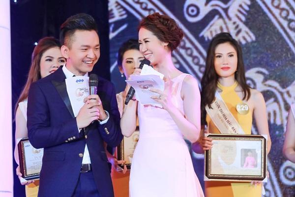 MC Hạnh Phúc và Hoa hậu thân thiện Dương Thùy Linh dẫn chương trình trong đêm bán kết Hoa hậu Bản sắc Việt toàn cầu