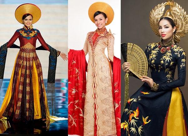 Từ trái qua: Hoa hậu Diễm Hương, Hoa hậu Thùy Lâm, Hoa hậu Phạm Hương với những bộ quốc phục thu hút sự chú ý tại cuộc thi Hoa hậu Hoàn vũ thế giới.