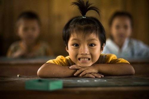Em bé trong lớp học ở Bắc Quang, Hà Giang.