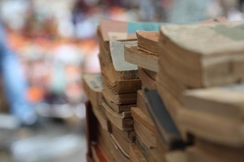 Không chỉ là các vật dụng cổ hay những linh vật xưa, tại phiên chợ đồ cổ năm nay còn bày bán khá nhiều các loại sách cũ.