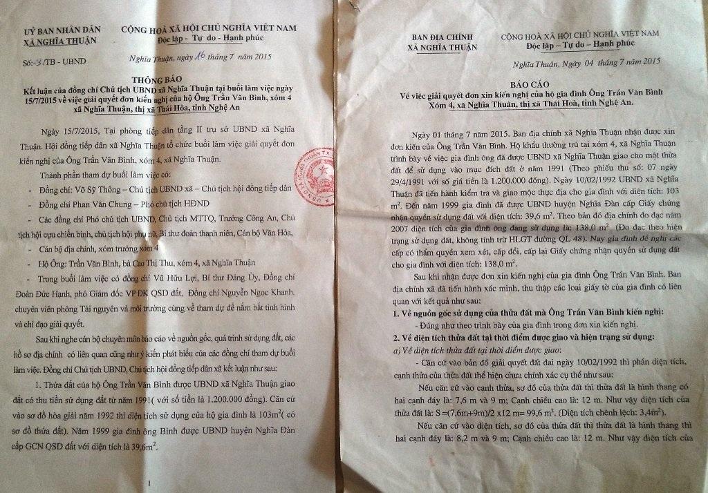 Thông báo của UBND xã Nghĩa Thuận vào ngày 16/7/2015 cho gia đình ông Bình nhưng chưa đúng với thực tế.