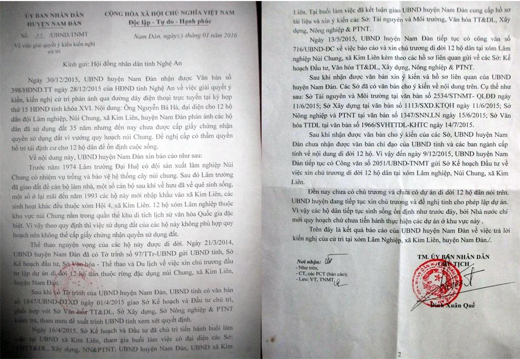 UBND huyện Nam Đàn trả lời ý kiến, kiến nghị của 12 hộ dân.