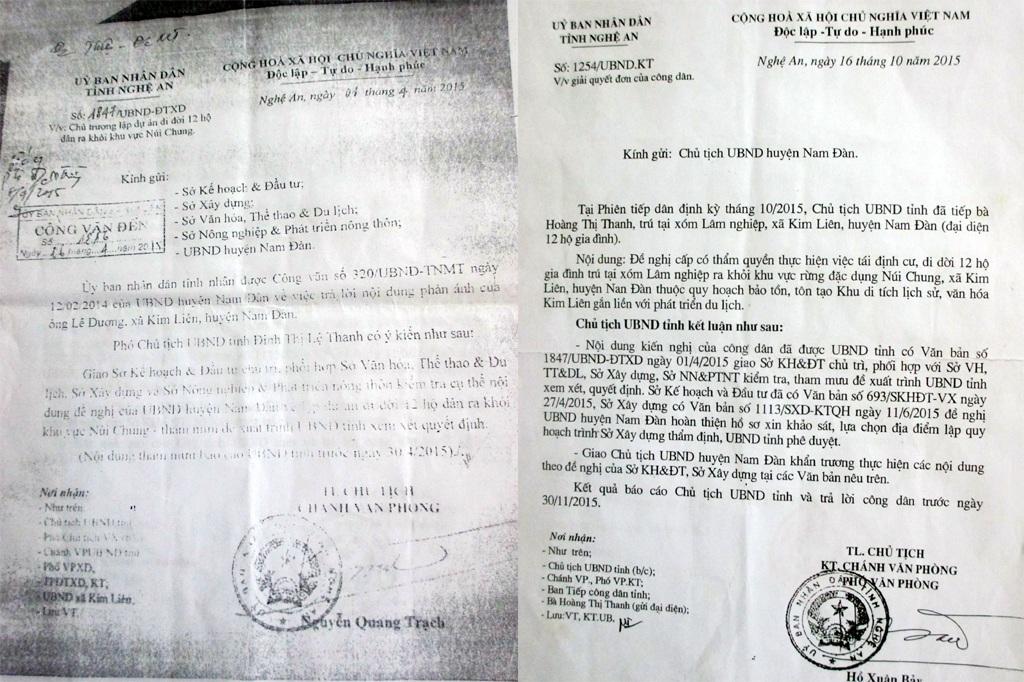 Đã nhiều lần các hộ dân gửi đơn thư cầu cứu, và UBND tỉnh Nghệ An đã có Công văn gửi UBND huyện Nam Đàn để giải quyết.