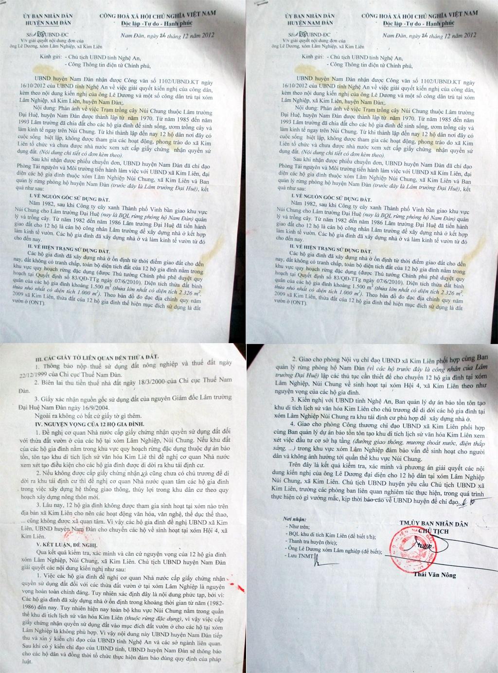 Công văn của UBND huyện Nam Đàn về việc giải quyết đơn thư, khiếu nại của công dân.