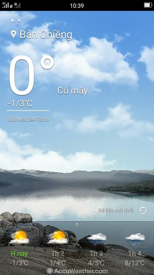 Nhiệt độ đo được bằng điện thoại thông minh tại khu vực Bản Chiềng, huyện biên giới Quế Phong là 0 độ C.